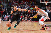 Tyus Jones of the Minnesota Timberwolves handles the ball against the Chicago Bulls during the 2016 NBA Las Vegas Summer League game on July 18 2016...