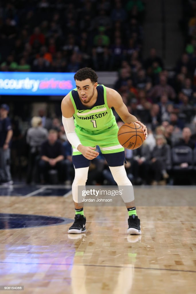 Tyus Jones #1 of the Minnesota Timberwolves handles the ball against the Toronto Raptors on January 20, 2018 at Target Center in Minneapolis, Minnesota.