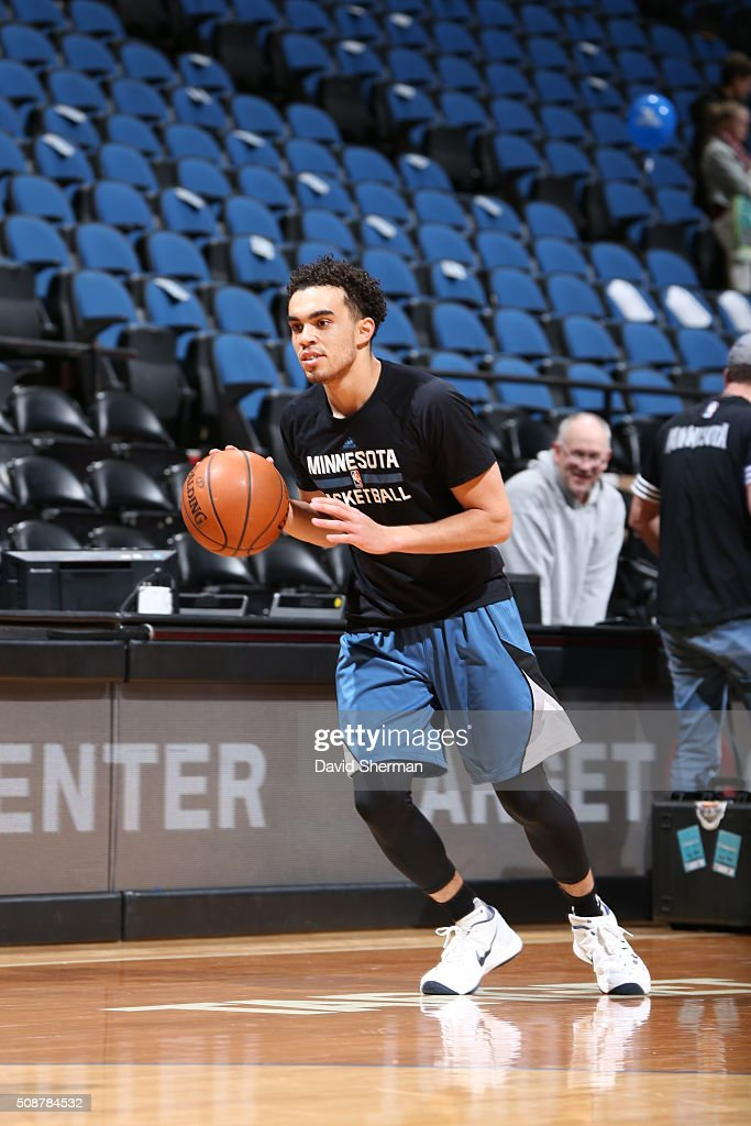 <a gi-track='captionPersonalityLinkClicked' href=/galleries/search?phrase=Tyus+Jones&family=editorial&specificpeople=10012848 ng-click='$event.stopPropagation()'>Tyus Jones</a> #1 of the Minnesota Timberwolves warms up before the game against the Chicago Bulls on February 6, 2016 at Target Center in Minneapolis, Minnesota.