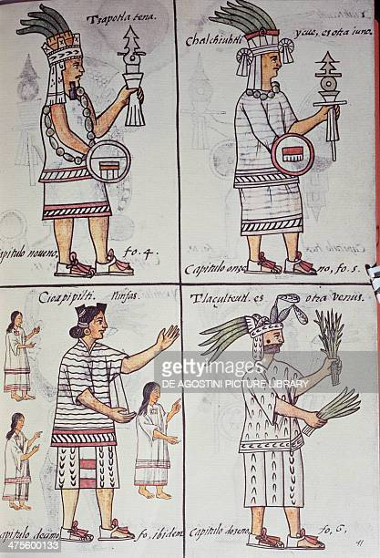 Tzapotlatena Chalchiuhtlatonal Cioapipitli and Tliltecuhtli gods of the ancient Mexicans page from the Florentine Codex bilingual version in Spanish...