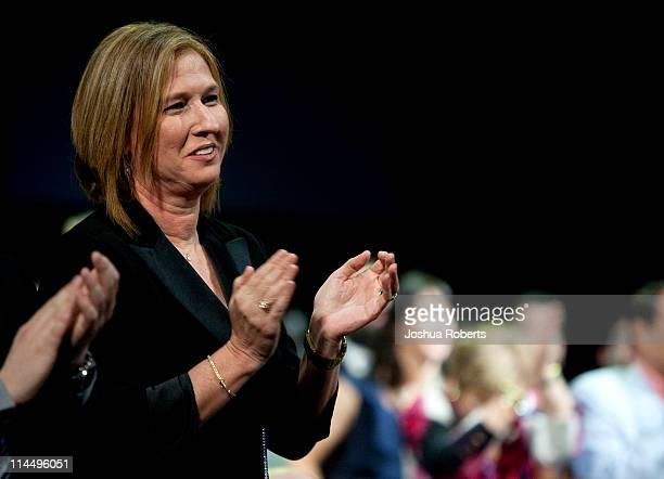 Tzipi Livni Israeli Opposition Leader and leader of the Kadima party applauds before US President Barack Obama speaks to the American Israel Public...