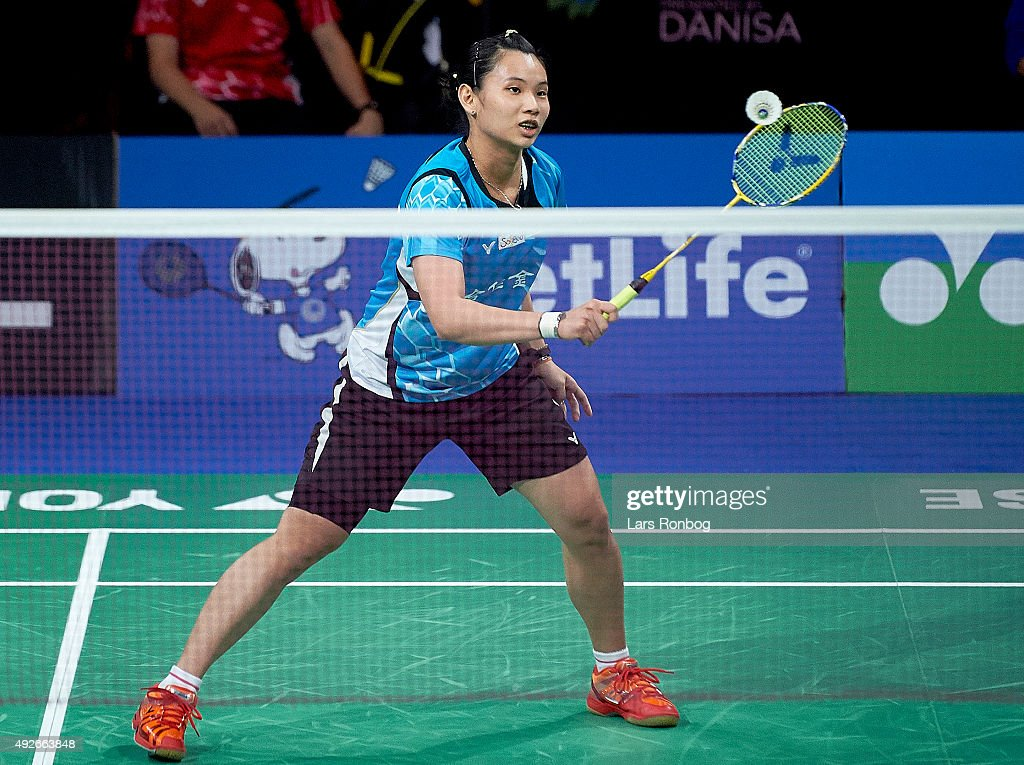 TAI Tzu Ying of Chinese Taipei Taiwan in action during Day Two at the MetLife BWF World Superseries Premier Yonex Denmark Open Badminton at Odense Idratshal on October 14, 2015 in Odense, Denmark.