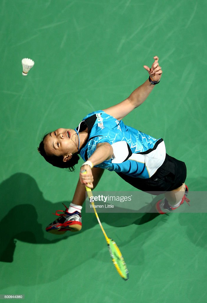 Tzu Ying Tai of Chainese Taipei in actioin against Saina Nehwal of India in the Women's Singels match during day three of the BWF Dubai World Superseries 2015 Finals at the Hamdan Sports Complex on December 11, 2015 in Dubai, United Arab Emirates.