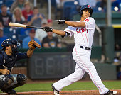 TzuWei Lin up to bat during the game against the New Hampshire Fisher Cats at Hadlock Field