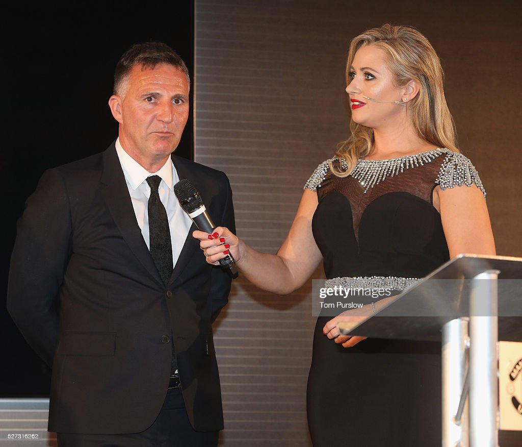 U21s team Manager Warren Joyce of Manchester United is interviewed by host <a gi-track='captionPersonalityLinkClicked' href=/galleries/search?phrase=Hayley+McQueen&family=editorial&specificpeople=9513992 ng-click='$event.stopPropagation()'>Hayley McQueen</a> at the club's annual Player of the Year awards at Old Trafford on May 2, 2016 in Manchester, England.