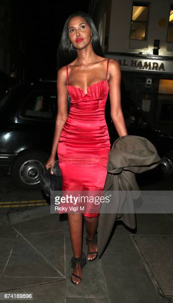 Ubah Hassan seen arriving at Loulou's private members club in Mayfair on April 27 2017 in London England