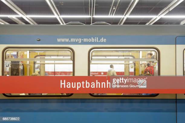 Bahn at Munich main railway station or Muenchen Hauptbahnhof on April 13 2017 in Munich Germany Hauptbahnhof is the main railway station in the city...