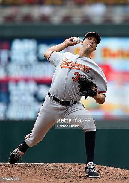Ubaldo Jimenez of the Baltimore Orioles delivers a pitch against the Minnesota Twins during the first inning of the game on July 8 2015 at Target...