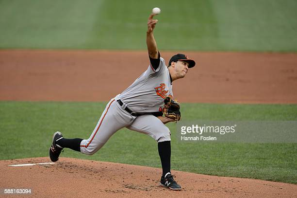 Ubaldo Jimenez of the Baltimore Orioles delivers a pitch against the Minnesota Twins during the game on July 28 2016 at Target Field in Minneapolis...