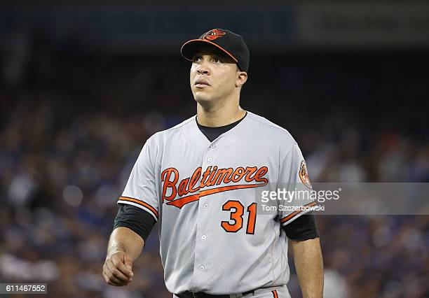 Ubaldo Jimenez of the Baltimore Orioles exits the game as he is relieved in the seventh inning during MLB game action against the Toronto Blue Jays...