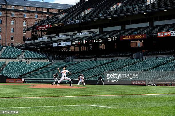 Ubaldo Jimenez of the Baltimore Orioles pitches against the Chicago White Sox at Oriole Park at Camden Yards on April 29 2015 in Baltimore Maryland...