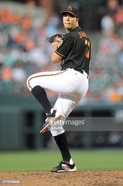 Ubaldo Jimenez of the Baltimore Orioles pitches against the New York Yankees at Oriole Park at Camden Yards on June 12 2015 in Baltimore Maryland
