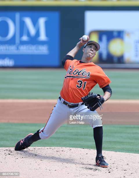 Ubaldo Jimenez of the Baltimore Orioles pitches during the first inning of the Spring Training Game against the Pittsburgh Pirates on March 15 2017...