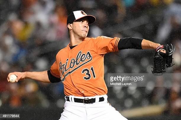 Ubaldo Jimenez of the Baltimore Orioles pitches in first inning during game two of a double header against the New York Yankees at Oriole Park at...