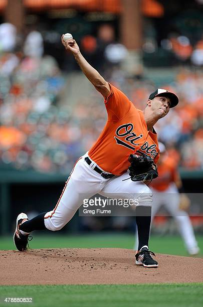 Ubaldo Jimenez of the Baltimore Orioles pitches in the first inning against the Cleveland Indians at Oriole Park at Camden Yards on June 28 2015 in...