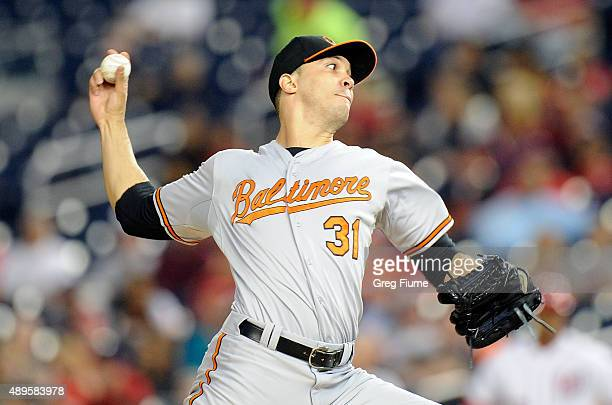 Ubaldo Jimenez of the Baltimore Orioles pitches in the first inning against the Washington Nationals at Nationals Park on September 22 2015 in...