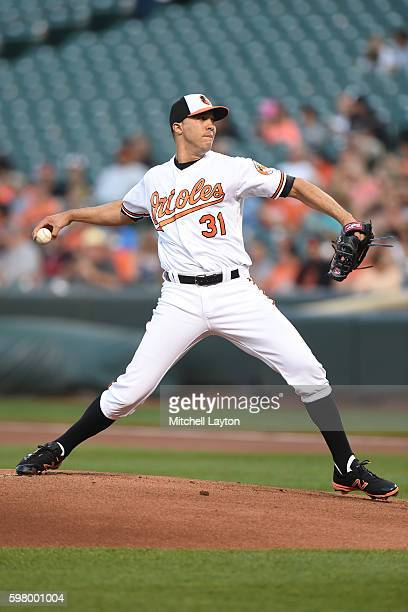 Ubaldo Jimenez of the Baltimore Orioles pitches in the first inning during a baseball game against the Toronto Blue Jays at Oriole Park at Camden...