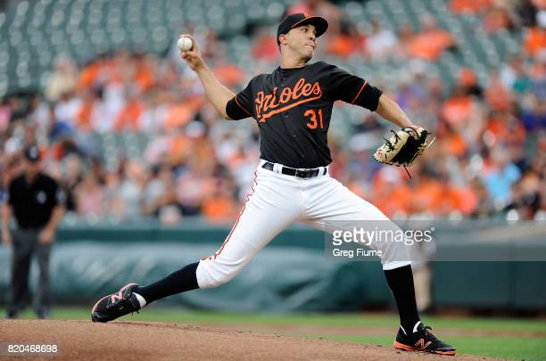 Ubaldo Jimenez of the Baltimore Orioles pitches in the first inning against the Houstan Astros at Oriole Park at Camden Yards on July 21 2017 in...