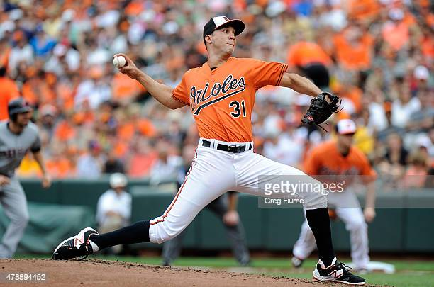 Ubaldo Jimenez of the Baltimore Orioles pitches in the second inning against the Cleveland Indians at Oriole Park at Camden Yards on June 28 2015 in...