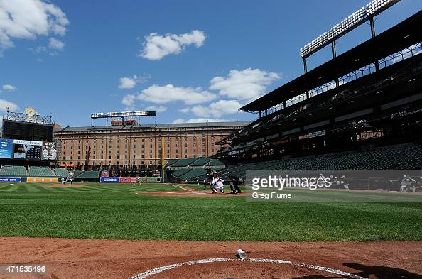 Ubaldo Jimenez of the Baltimore Orioles pitches to Adam Eaton of the Chicago White Sox in the first inning at Oriole Park at Camden Yards on April 29...