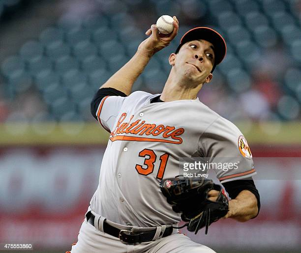 Ubaldo Jimenez of the Baltimore Orioles throws in the third inning against the Houston Astros at Minute Maid Park on June 1 2015 in Houston Texas