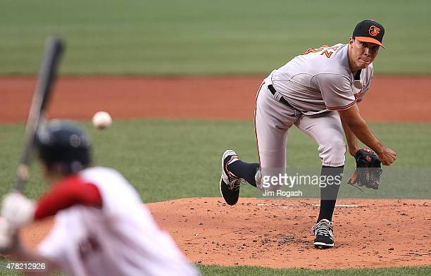 Ubaldo Jimenez of the Baltimore Orioles thwos against the Boston Red Sox throws in the first inning at Fenway Park on June 23 2015 in Boston...