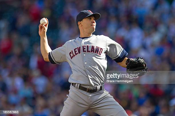 Ubaldo Jimenez of the Cleveland Indians pitches against the Minnesota Twins on September 29 2013 at Target Field in Minneapolis Minnesota The Indians...
