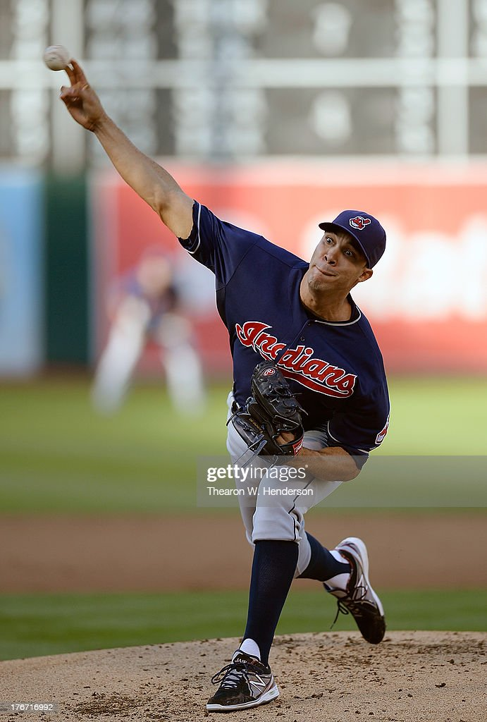 <a gi-track='captionPersonalityLinkClicked' href=/galleries/search?phrase=Ubaldo+Jimenez&family=editorial&specificpeople=2539590 ng-click='$event.stopPropagation()'>Ubaldo Jimenez</a> #30 of the Cleveland Indians pitches against the Oakland Athletics at O.co Coliseum on August 17, 2013 in Oakland, California.