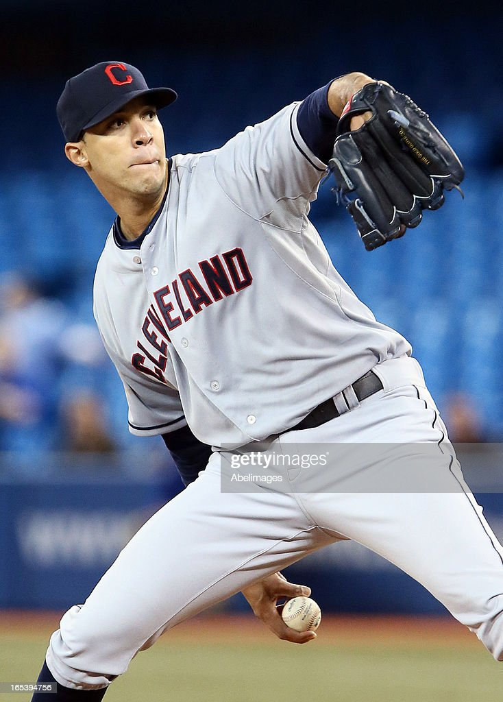 Ubaldo Jimenez #30 of the Cleveland Indians throws a pitch against the Toronto Blue Jays in the first inning during MLB action at the Rogers Centre April 3, 2013 in Toronto, Ontario, Canada.
