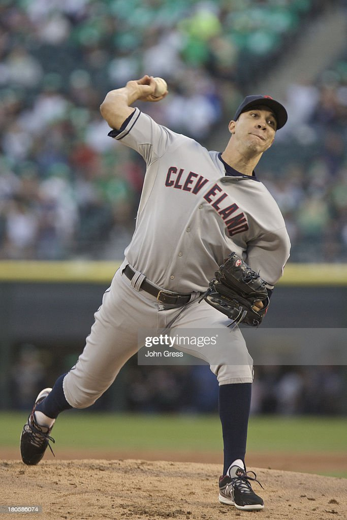 <a gi-track='captionPersonalityLinkClicked' href=/galleries/search?phrase=Ubaldo+Jimenez&family=editorial&specificpeople=2539590 ng-click='$event.stopPropagation()'>Ubaldo Jimenez</a> #30 of the Cleveland Indians throws to the Chicago White Sox during the first inning of their MLB game at U.S. Cellular Field on September 14, 2013 in Chicago, Illinois.