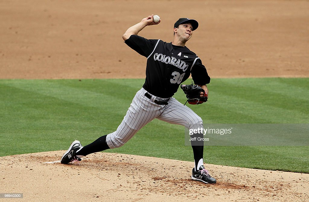 <a gi-track='captionPersonalityLinkClicked' href=/galleries/search?phrase=Ubaldo+Jimenez&family=editorial&specificpeople=2539590 ng-click='$event.stopPropagation()'>Ubaldo Jimenez</a> #38 of the Colorado Rockies pitches against the Los Angeles Dodgers in the third inning at Dodger Stadium on May 9, 2010 in Los Angeles, California.