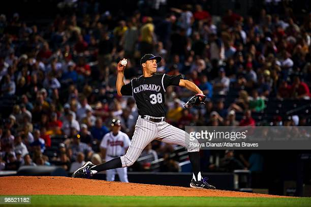 Ubaldo Jimenez of the Colorado Rockies pitches during his nohitter against the Atlanta Braves on April 17 2010 at Turner Field in Atlanta Georgia The...