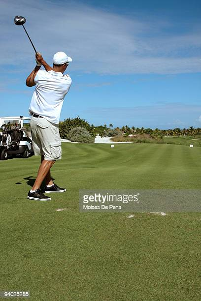 Ubaldo Jimenez plays golf during the David Ortiz Celebrity Golf Classic Golf Tournament on December 5 2009 in Cap Cana Dominican Republic