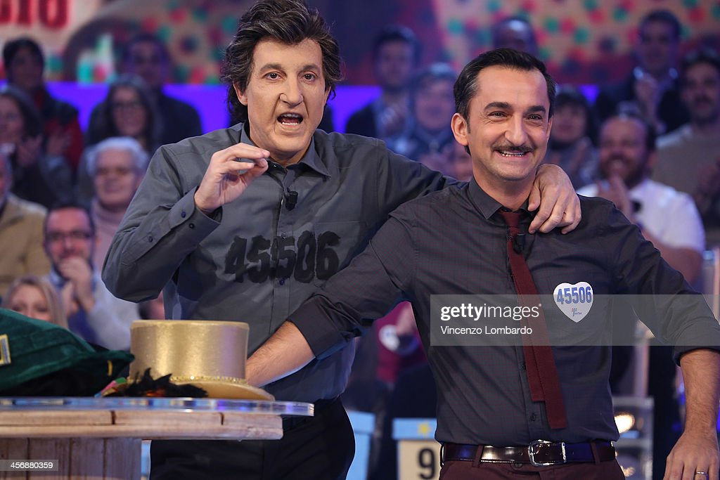Ubaldo Pantani and Nicola Savino (R) appear on Italian tv show 'Quelli Che Il Calcio' on December 15, 2013 in Milan, Italy.