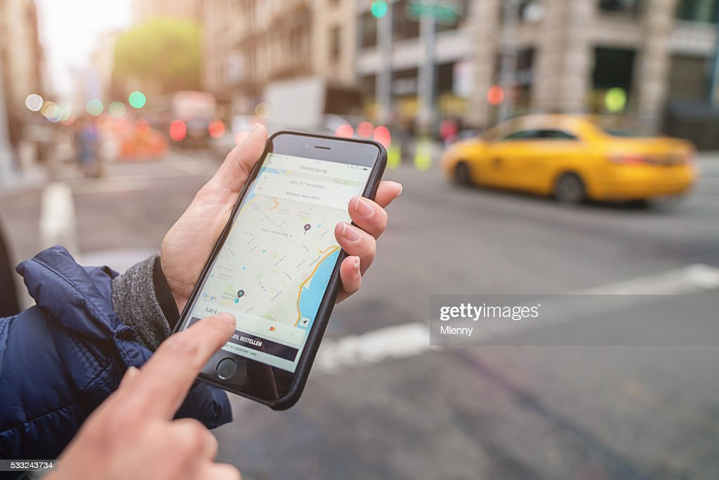 Uber Cab Apple iPhone 6s New York City Taxi Call : Stock Photo