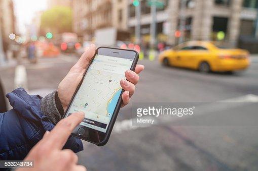 ユーバー タクシー Apple の iPhone 6 S ニューヨーク市タクシーまでお電話ください。