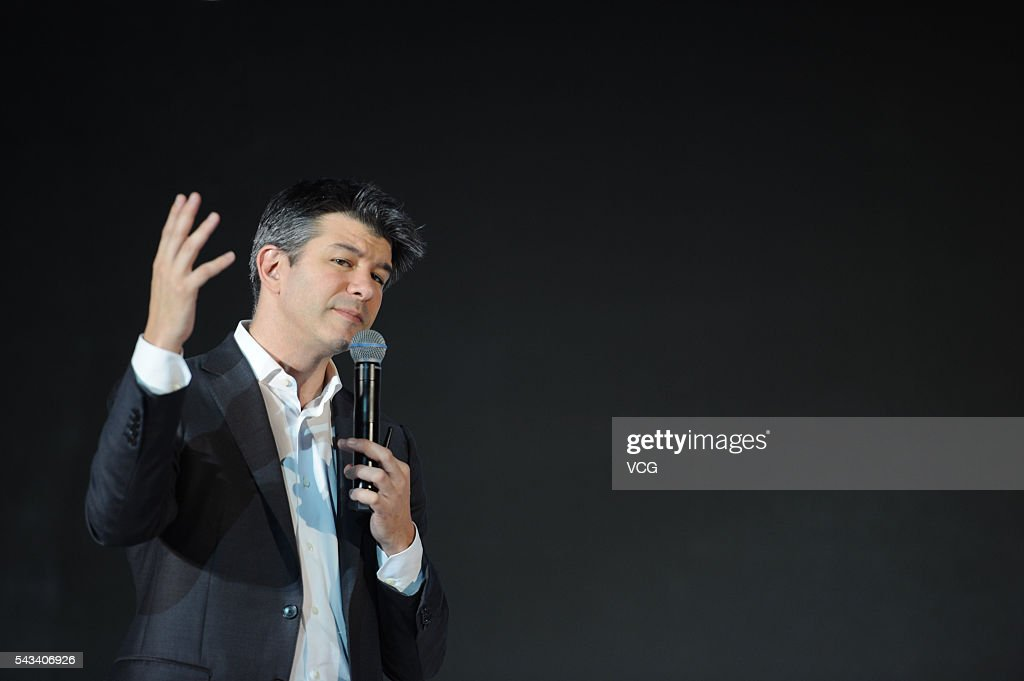 Uber CEO <a gi-track='captionPersonalityLinkClicked' href=/galleries/search?phrase=Travis+Kalanick&family=editorial&specificpeople=7808244 ng-click='$event.stopPropagation()'>Travis Kalanick</a> delivers a speech at the Third Netease Future Technology Conference on June 28, 2016 in Beijing, China. Concentrated around the theme of ¡°Force Sense,¡± the Third Netease Future Technology Conference invites entrepreneurs, scientists, writers, and celebrities to explore future tech and sets areas to experience virtual reality, augmented reality, artificial intelligence, and smart cars.