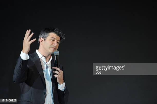 Uber CEO Travis Kalanick delivers a speech at the Third Netease Future Technology Conference on June 28 2016 in Beijing China Concentrated around the...