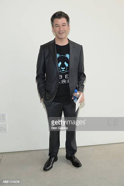 Uber CEO Travis Kalanick poses backstage at the Diane Von Furstenberg Spring 2016 fashion show during New York Fashion Week at Spring Studios on...