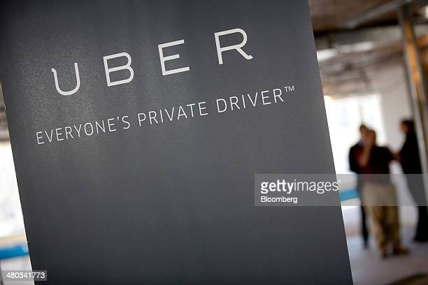 Uber Technologies Inc signage stands inside the company's office prior to Senator Marco Rubio a Republican from Florida speaking in Washington DC US...