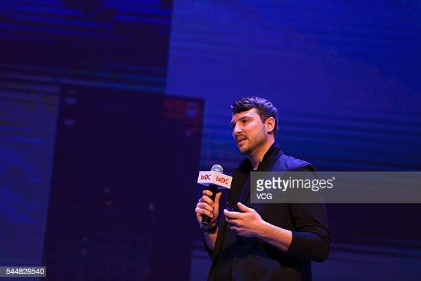 Uber US headquarter Ethan Eismann delivers a speech during the International Conference of Experience Design 2016 on July 1 2016 in Beijing China...