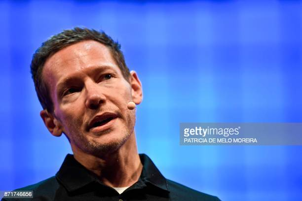 Uber's chief product officer Jeff Holden delivers a speech during the 2017 Web Summit in Lisbon on November 8 2017 Europe's largest tech event Web...
