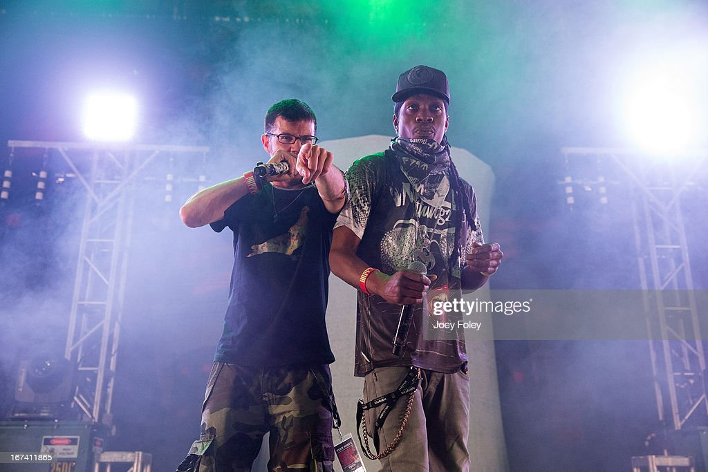 Ubiquitous and Godemis of Ces Cru performs onstage at the Egyptian Room at Old National Centre on April 24, 2013 in Indianapolis, Indiana.