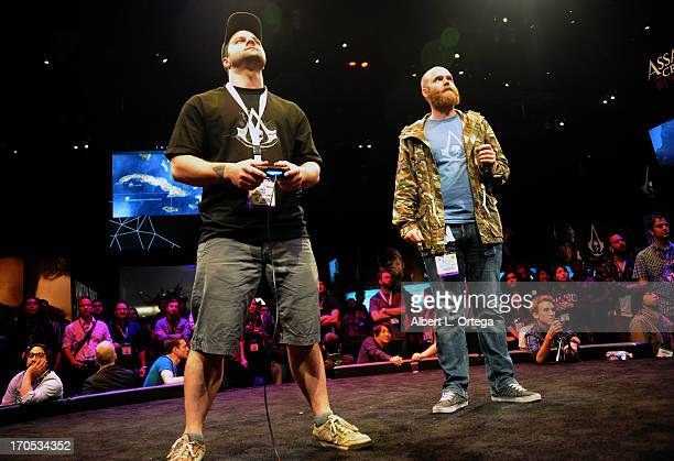 Ubisoft Entertainment's Simon Tessier and Christopher Easton participate in the 2013 E3 Electronic Entertainment Expo at The Los Angeles Convention...