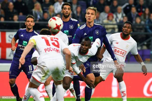 Uche Henry Agbo defender of Standard Liege Lukasz Teodorczyk forward of RSC Anderlecht during the Jupiler Pro League match between RSC Anderlecht and...