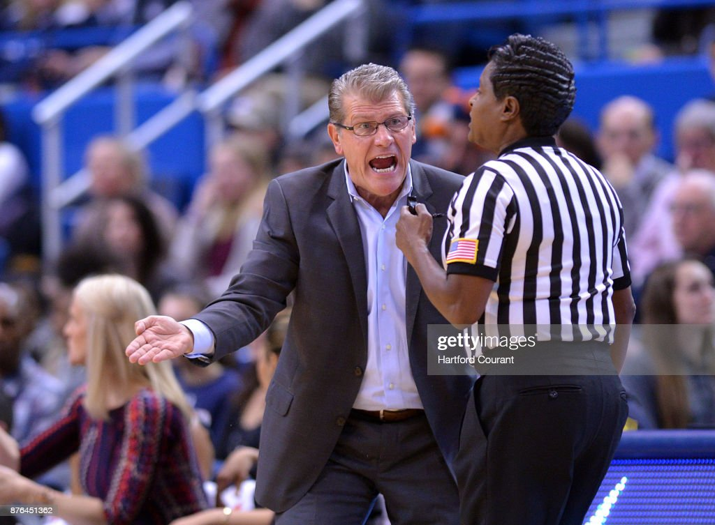 UConn Coach Geno Auriemma has words with an official in the first half of a game against Maryland on Sunday, Nov. 19, 2017 at the at XL Center in Hartford, Conn. UConn won the game 97-72.