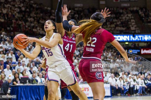 UConn Huskies Guard Gabby Williams leads the Huskies in the first half of a women's division 1 basketball game with 16 points as the UConn Huskies...