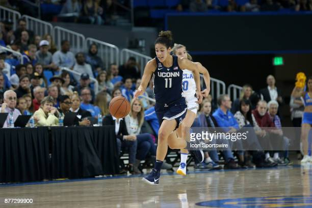 UConn Huskies guard Kia Nurse dribbles up the court during the game against the UCLA Bruins on November 21 at Pauley Pavilion in Los Angeles CA