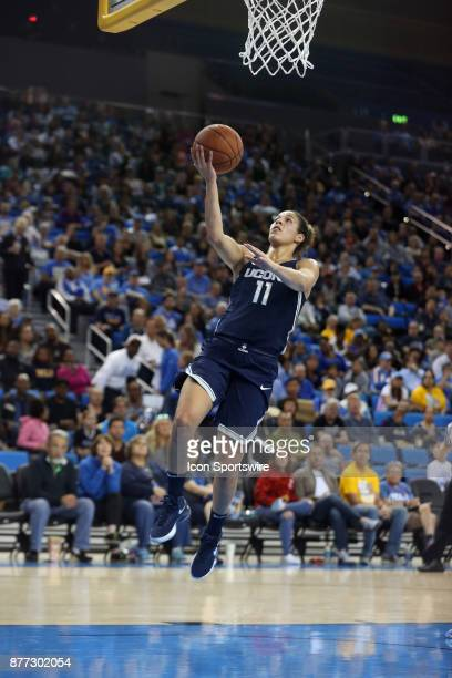 UConn Huskies guard Kia Nurse goes up for a layup during the game against the UCLA Bruins on November 21 at Pauley Pavilion in Los Angeles CA