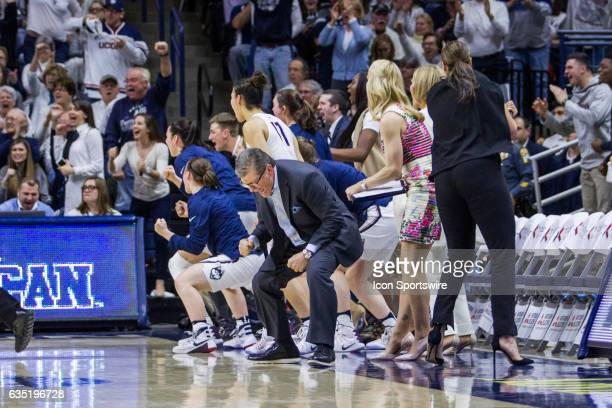 UConn Huskies Head Coach Geno Auriemma reacts to a call during the second half of a women's division 1 basketball game between 6th ranked University...